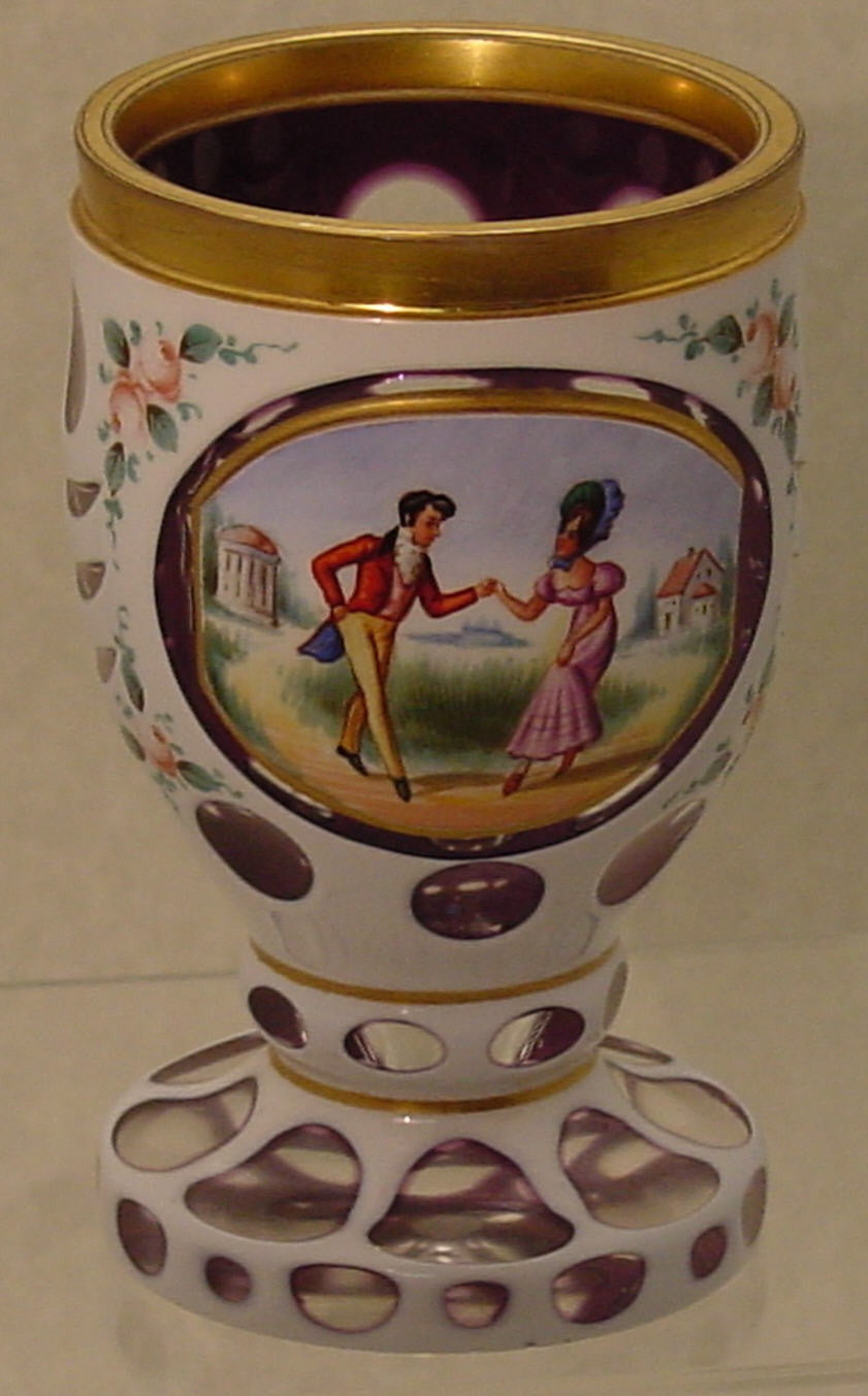 910045 Ameth Overlay W/Oval Panel Of Pntd Man & Lady, Round & Drape, Bohemian Glassware, Antique, - ReeceFurniture.com - Free Local Pick Ups: Frankenmuth, MI, Indianapolis, IN, Chicago Ridge, IL, and Detroit, MI
