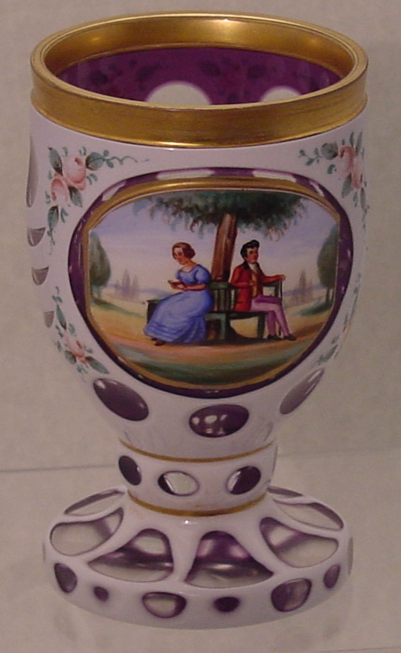 910046 Ameth Overlay W/Oval Panel Of Pntd Man & Lady Seated, Round, Bohemian Glassware, Antique, - ReeceFurniture.com - Free Local Pick Ups: Frankenmuth, MI, Indianapolis, IN, Chicago Ridge, IL, and Detroit, MI