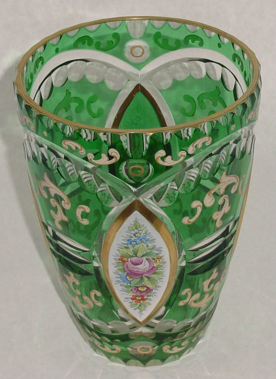 910050 Green Cased /W 4 Oval Anels Of Pntd Flowers On White, Fancy, Bohemian Glassware, Antique, - ReeceFurniture.com - Free Local Pick Ups: Frankenmuth, MI, Indianapolis, IN, Chicago Ridge, IL, and Detroit, MI