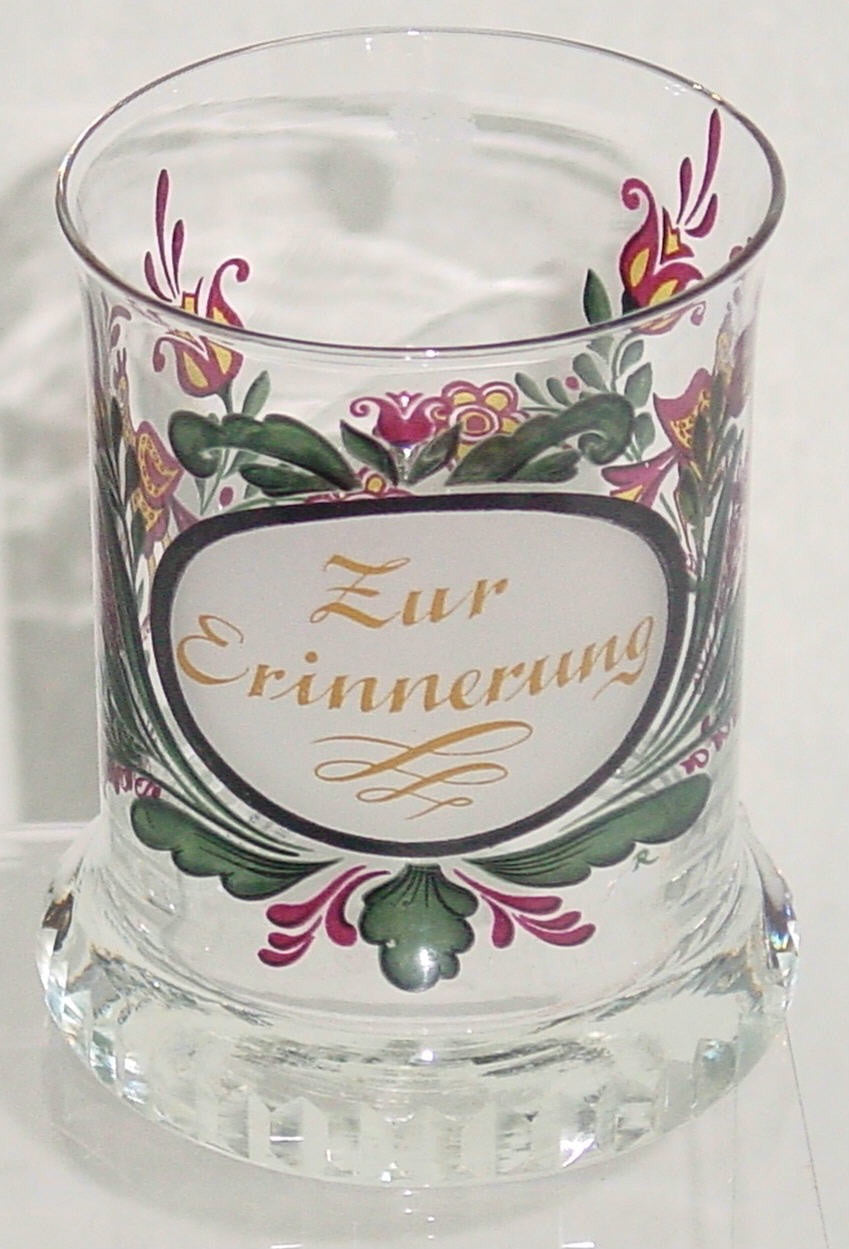 910065 Crystal Glass With Satin Oval Circle With Zur Erinnerung, Painted Flowers On Back, Cuts On Base, Bohemian Glassware, Antique, - ReeceFurniture.com - Free Local Pick Ups: Frankenmuth, MI, Indianapolis, IN, Chicago Ridge, IL, and Detroit, MI