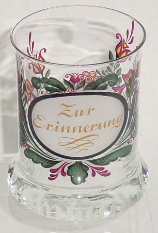 910065 Crystal Glass With Satin Oval Circle With Zur Erinnerung, Painted Flowers On Back, Cuts On Base