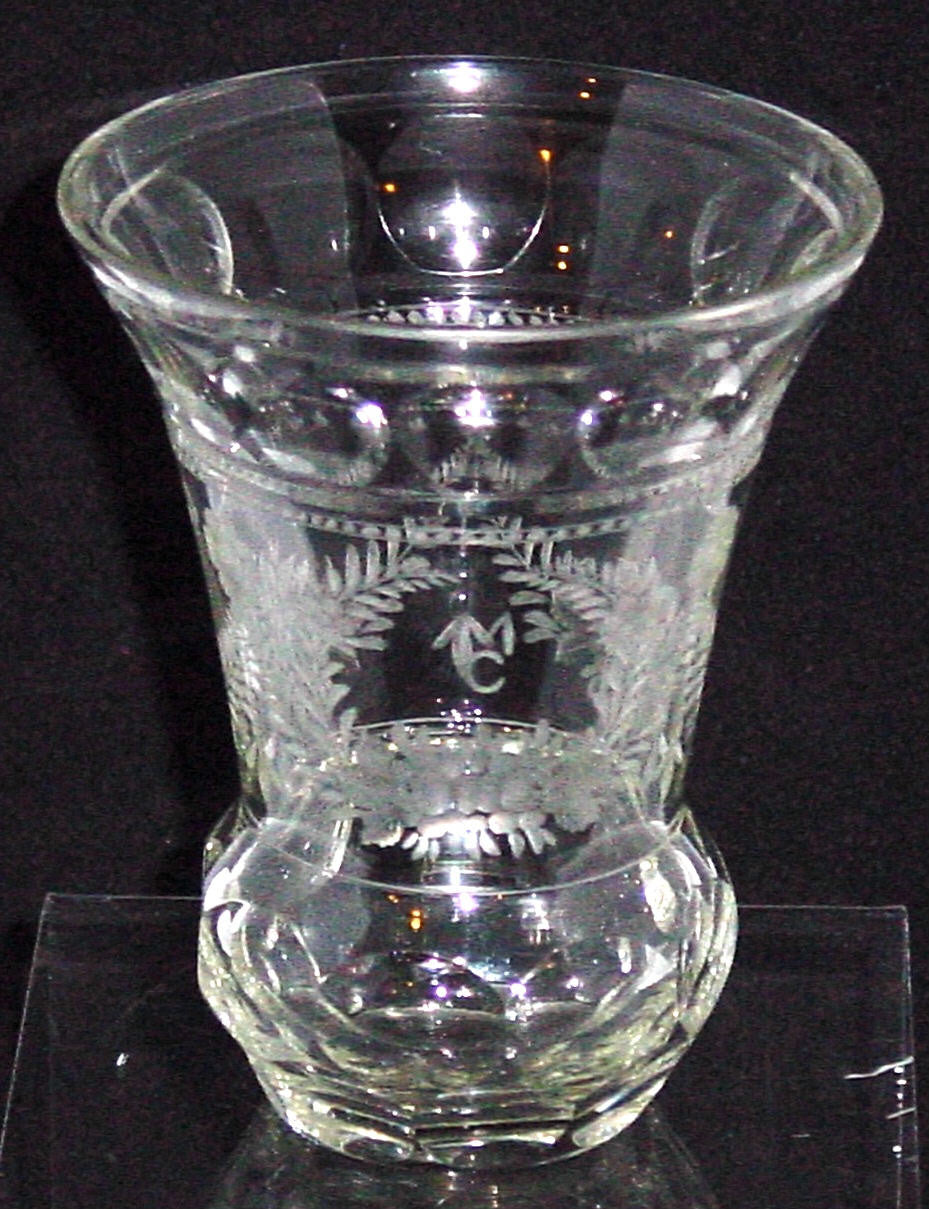 910149 Crystal Bohemian Glass Friendship Cup with Engraved Flowers & Leaves, Bohemian Glassware, Antique, - ReeceFurniture.com - Free Local Pick Ups: Frankenmuth, MI, Indianapolis, IN, Chicago Ridge, IL, and Detroit, MI