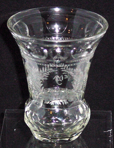 910149 Crystal Bohemian Glass Friendship Cup with Engraved Flowers & Leaves