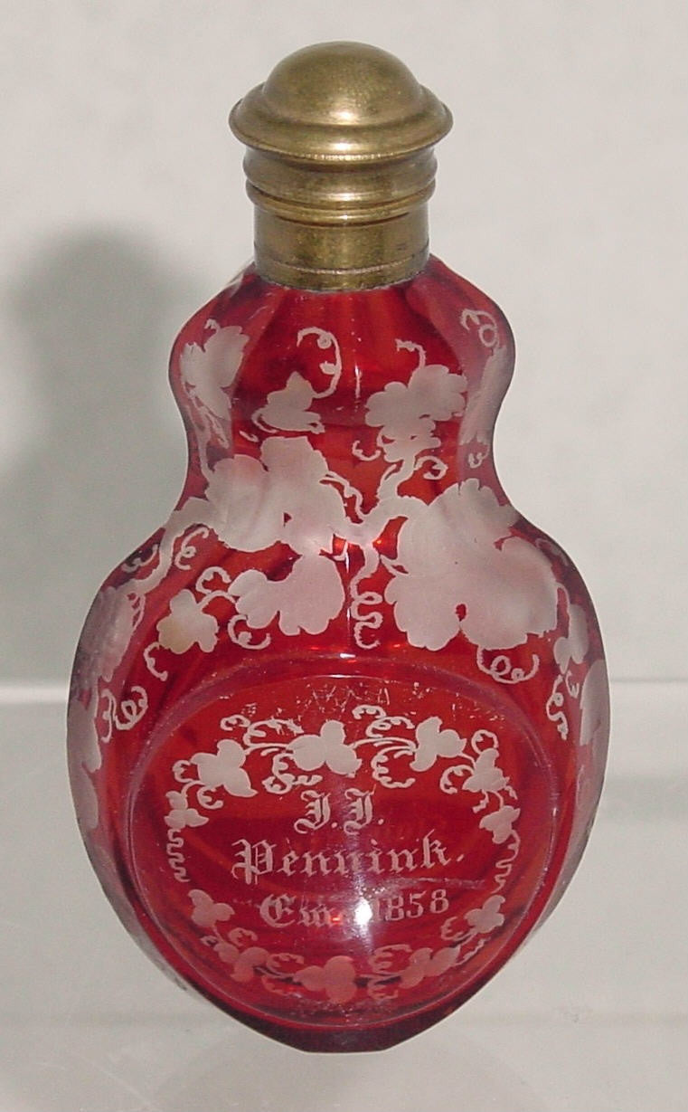 910173 Ruby Flashed Small Perfume Bottle With Metal Top, 2 Circles 1 Engraved Building, Bohemian Glassware, Antique, - ReeceFurniture.com - Free Local Pick Ups: Frankenmuth, MI, Indianapolis, IN, Chicago Ridge, IL, and Detroit, MI