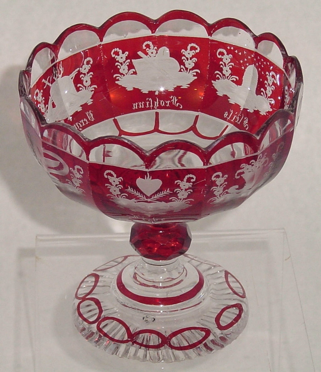 910193 Ruby Flashed Compote With 15 Cut Glass Sides and 8 Engraved Designs, Bohemian Glassware, Antique, - ReeceFurniture.com - Free Local Pick Ups: Frankenmuth, MI, Indianapolis, IN, Chicago Ridge, IL, and Detroit, MI