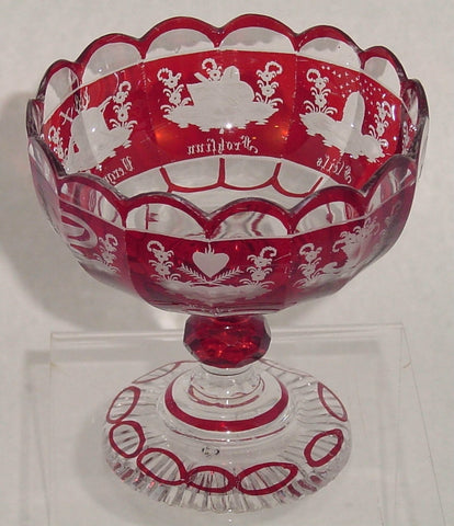 910193 Ruby Flashed Compote With 15 Cut Glass Sides and 8 Engraved Designs