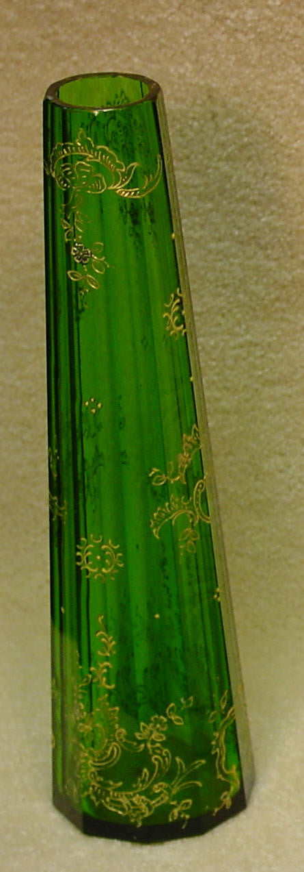 910209 Green W/10 Long Cut Flat Straight Sides, Fancy Gold Dec &, Bohemian Glassware, Antique, - ReeceFurniture.com - Free Local Pick Ups: Frankenmuth, MI, Indianapolis, IN, Chicago Ridge, IL, and Detroit, MI