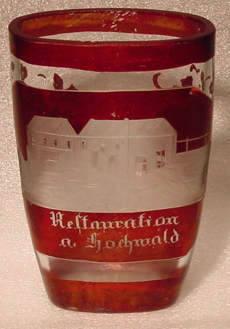 910217 Ruby Glass Flashed Oval With Engraved Building On Front, Ruby Flashed Band On Top & Base, Leaves On Back