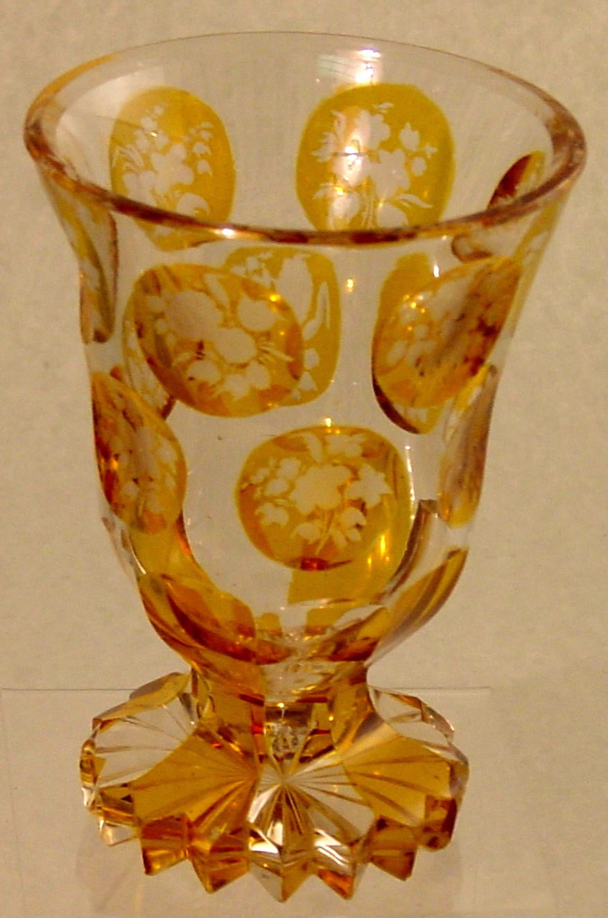910231 Crystal W/2 Rows Of 6 Ea Round Amber Flashed Panels Of Engr, Bohemian Glassware, Antique, - ReeceFurniture.com - Free Local Pick Ups: Frankenmuth, MI, Indianapolis, IN, Chicago Ridge, IL, and Detroit, MI