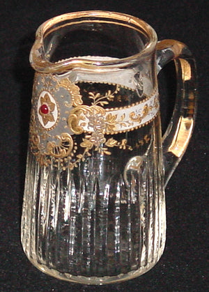 910247 Mini Crystal Pitcher With Long Thin Cuts On Lower Part, Fancy Gold Around & Pattern In Front, Gold Rim, Bohemian Glassware, Antique, - ReeceFurniture.com - Free Local Pick Ups: Frankenmuth, MI, Indianapolis, IN, Chicago Ridge, IL, and Detroit, MI