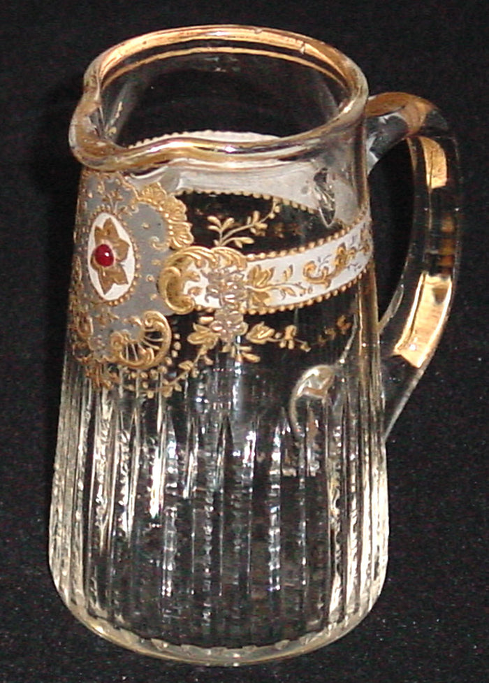 910247 Mini Crystal Pitcher With Long Thin Cuts Fancy & Painted Gold Decor