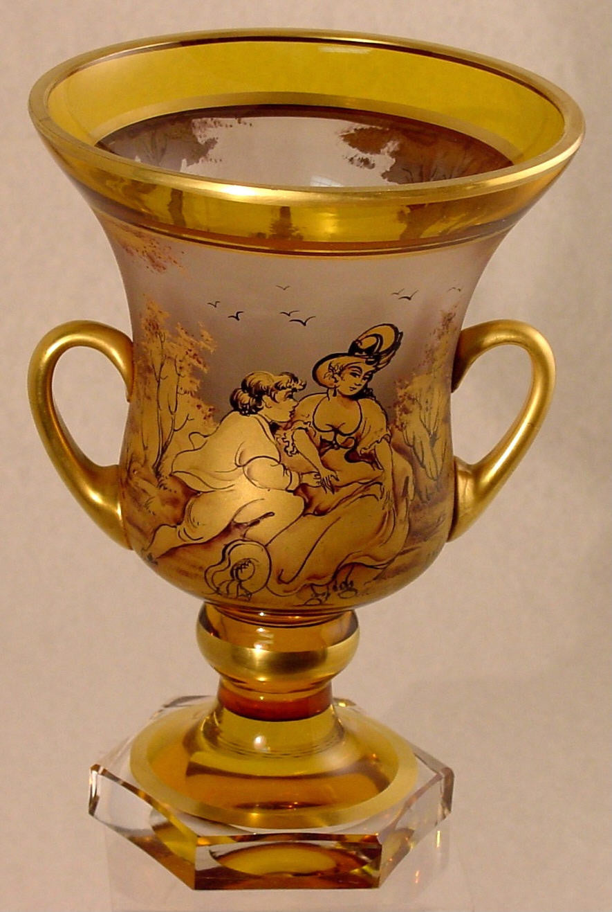 910249 Handled Urn W/Gold Pnt Lady & Man, Trees, Amber & Crystal,, Bohemian Glassware, Antique, - ReeceFurniture.com - Free Local Pick Ups: Frankenmuth, MI, Indianapolis, IN, Chicago Ridge, IL, and Detroit, MI