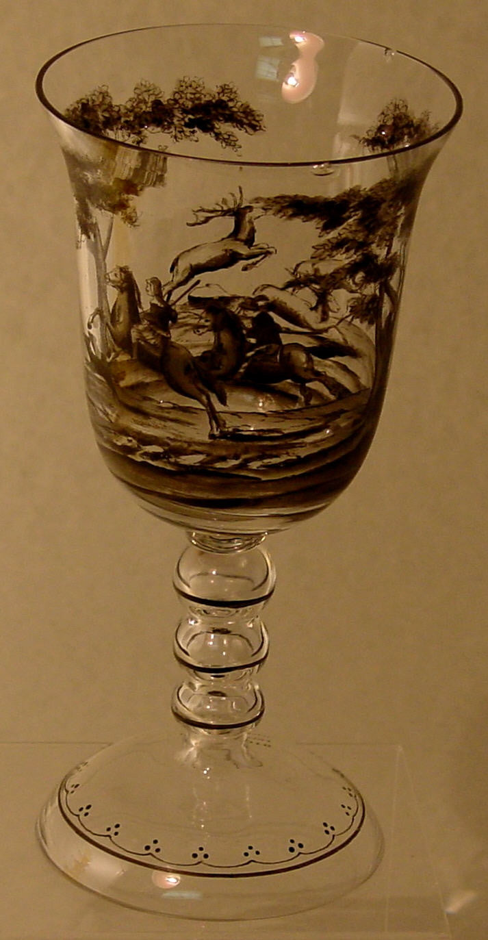 910283 Crystal Goblet W/Black Painting Of 2 Men On Horses W/Deer On, Bohemian Glassware, Antique, - ReeceFurniture.com - Free Local Pick Ups: Frankenmuth, MI, Indianapolis, IN, Chicago Ridge, IL, and Detroit, MI