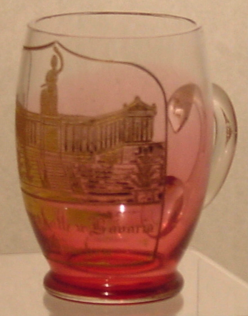 910328 Cranberry To Crystal Glass With Handle, Panel Of Engraved Building Painted Gold & Gold Rim, Bohemian Glassware, Antique, - ReeceFurniture.com - Free Local Pick Ups: Frankenmuth, MI, Indianapolis, IN, Chicago Ridge, IL, and Detroit, MI