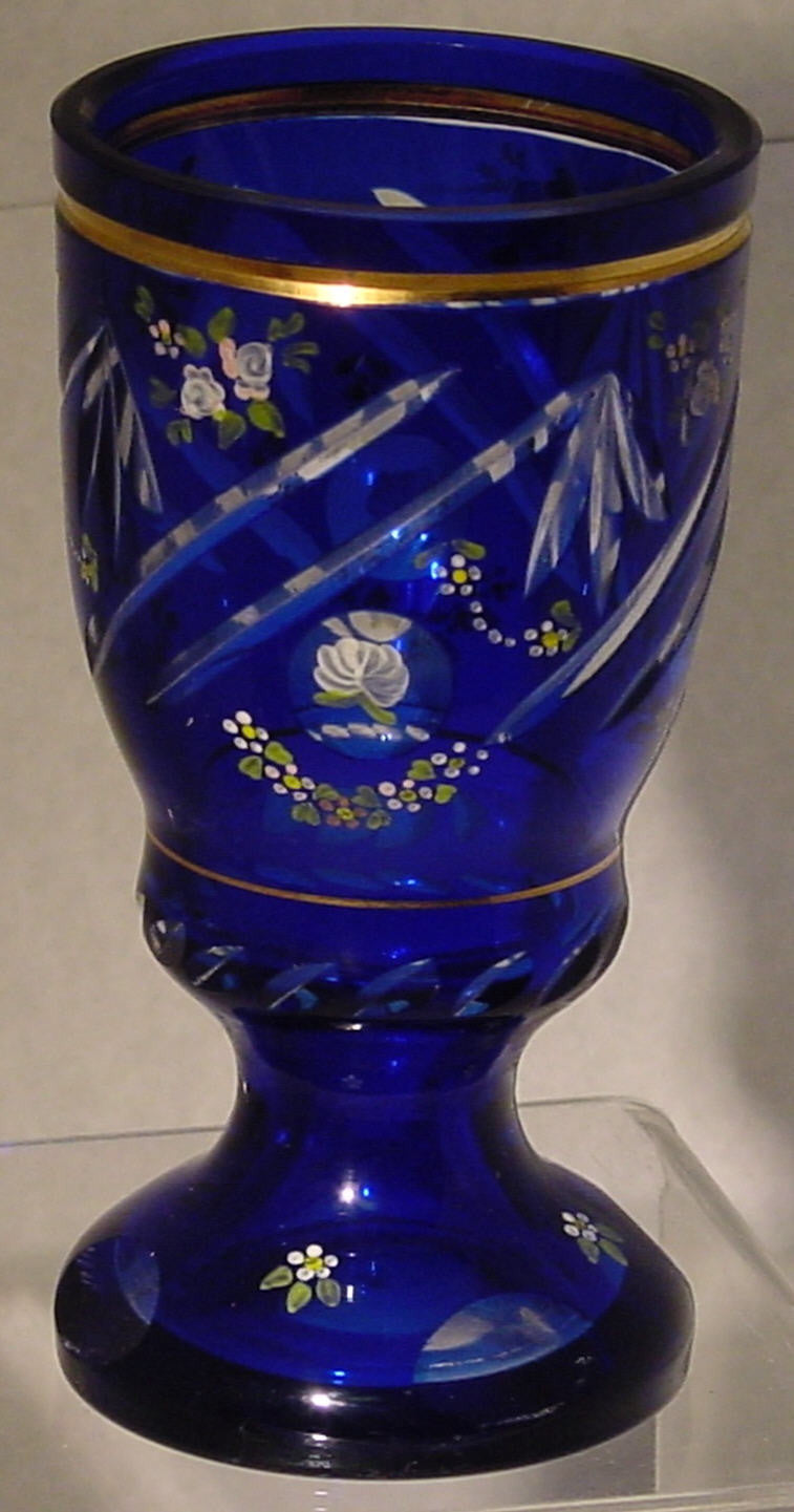 910339 Blue Cased Glass With Long Thin Cuts & Round Cuts With Painted Flowers, Painted Flowers Around, Gold In Cut Near Rim, Cuts On Base, Bohemian Glassware, Antique, - ReeceFurniture.com - Free Local Pick Ups: Frankenmuth, MI, Indianapolis, IN, Chicago Ridge, IL, and Detroit, MI