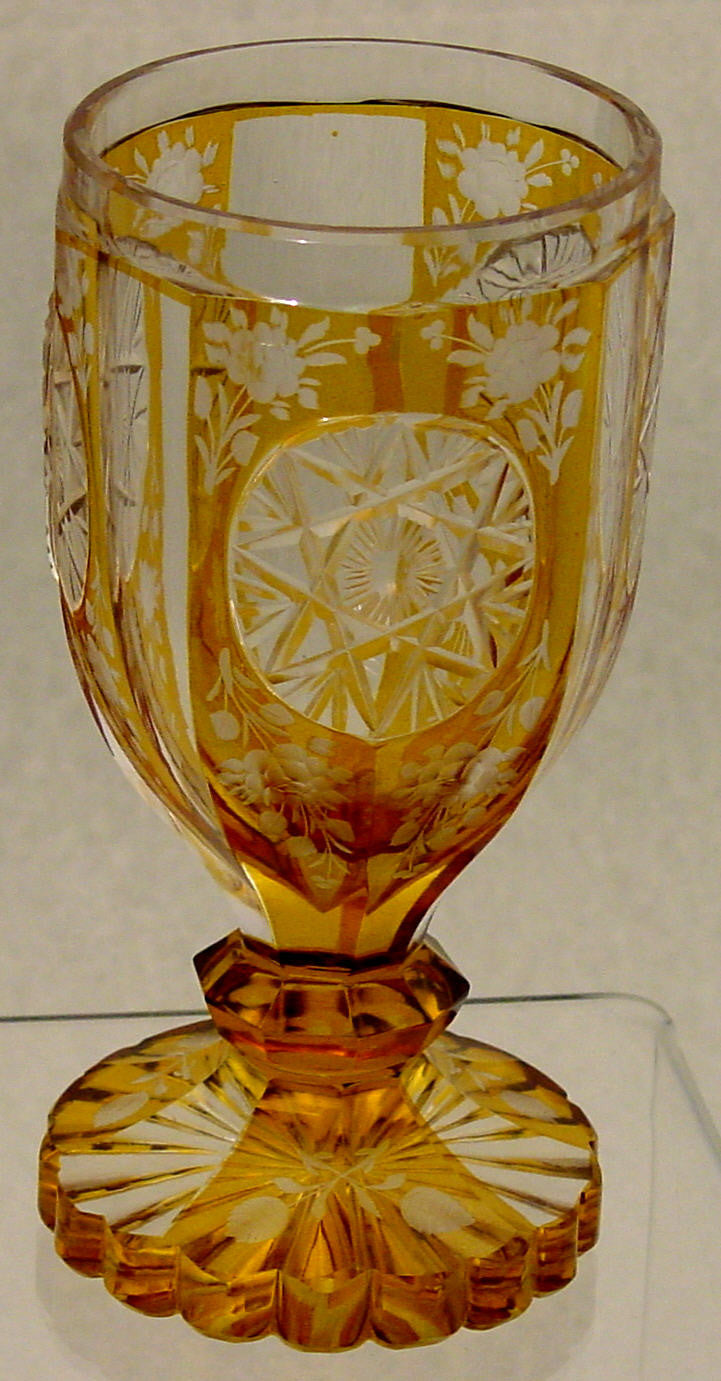 910378 Amber Flashed W/3 Round Panels Uf Cut Star, Flat Sides, 10, Bohemian Glassware, Antique, - ReeceFurniture.com - Free Local Pick Ups: Frankenmuth, MI, Indianapolis, IN, Chicago Ridge, IL, and Detroit, MI