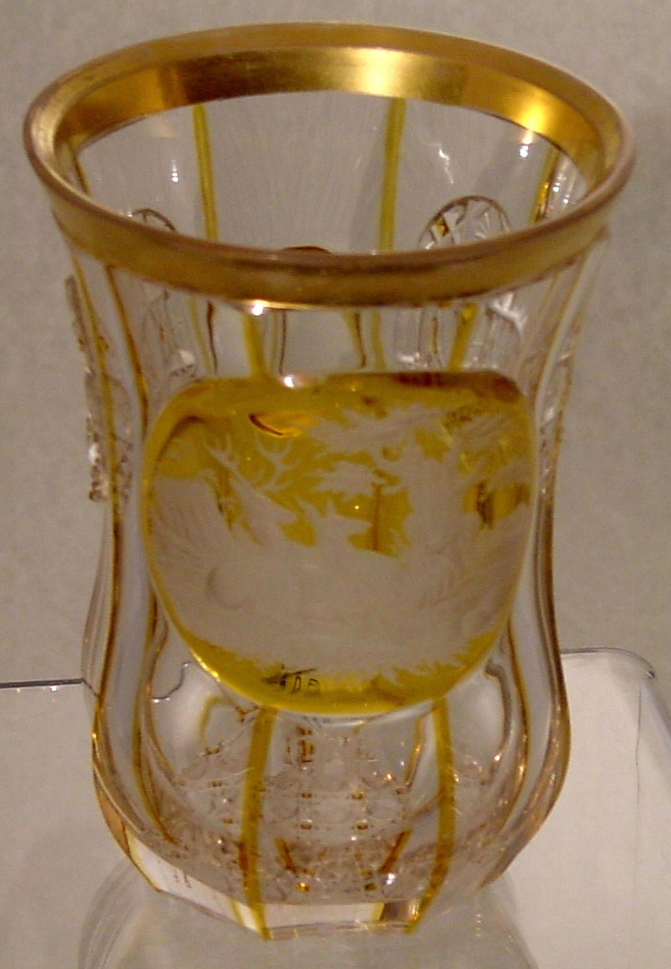 910403 Crystal W/Amber Flashed Oval Panel Of 3 Engraved Deer, Trees, Bohemian Glassware, Antique, - ReeceFurniture.com - Free Local Pick Ups: Frankenmuth, MI, Indianapolis, IN, Chicago Ridge, IL, and Detroit, MI