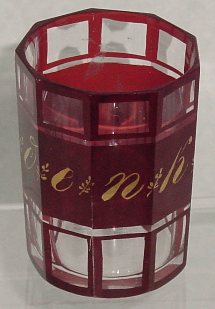 "910429 Ruby Glass Flashed With Cut 9 Flat Sides ""Andenken"" In Gold"