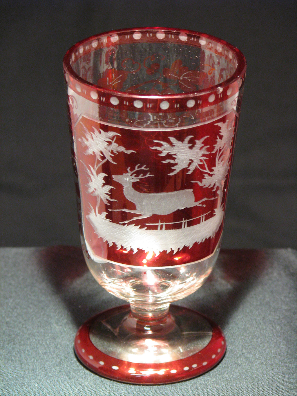 910501 Ruby Flashed W/Rect Panels Of Engraved Deer & Trees, Ruby, Bohemian Glassware, Antique, - ReeceFurniture.com - Free Local Pick Ups: Frankenmuth, MI, Indianapolis, IN, Chicago Ridge, IL, and Detroit, MI