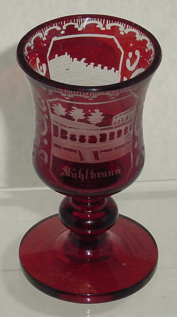 910636 Ruby Flashed Over Crystal Glass With 2 Rectangle Panels Of Engraved Buildings, Egermann Style Engraving On Sides, Bohemian Glassware, Antique, - ReeceFurniture.com - Free Local Pick Ups: Frankenmuth, MI, Indianapolis, IN, Chicago Ridge, IL, and Detroit, MI