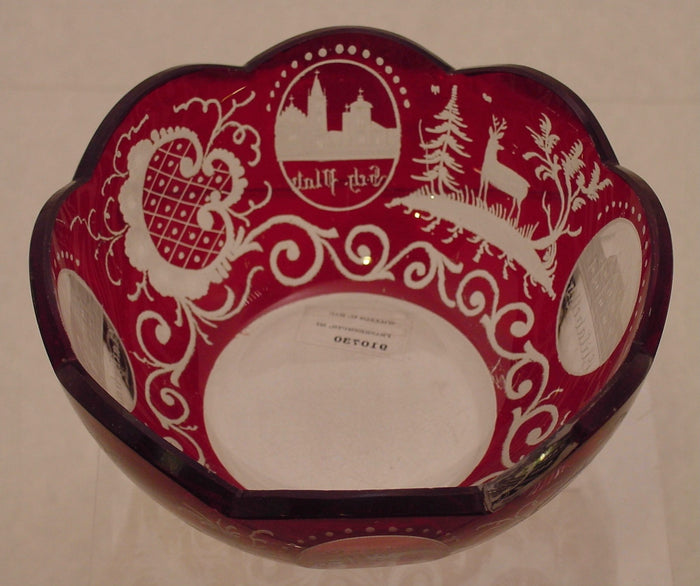 "910730 Ruby Flashed Over Crystal Bowl ""Gruss Aus Teplitz"" W/Buildings & Deer"