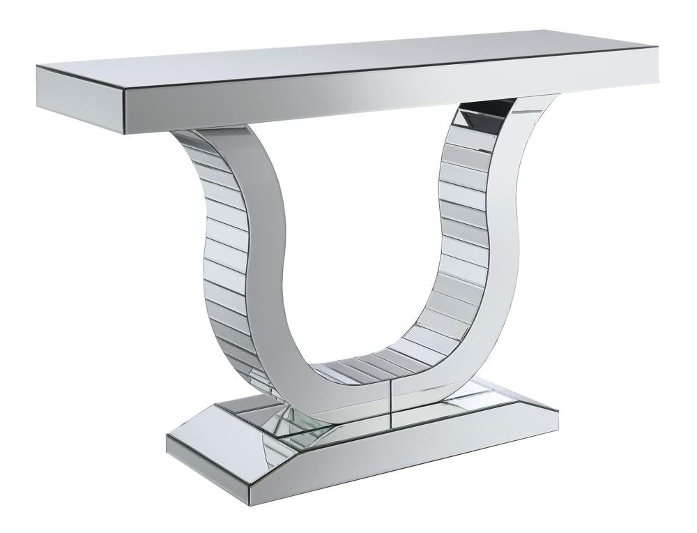 G930009 - Console Table With U-Shaped Base - Clear Mirror