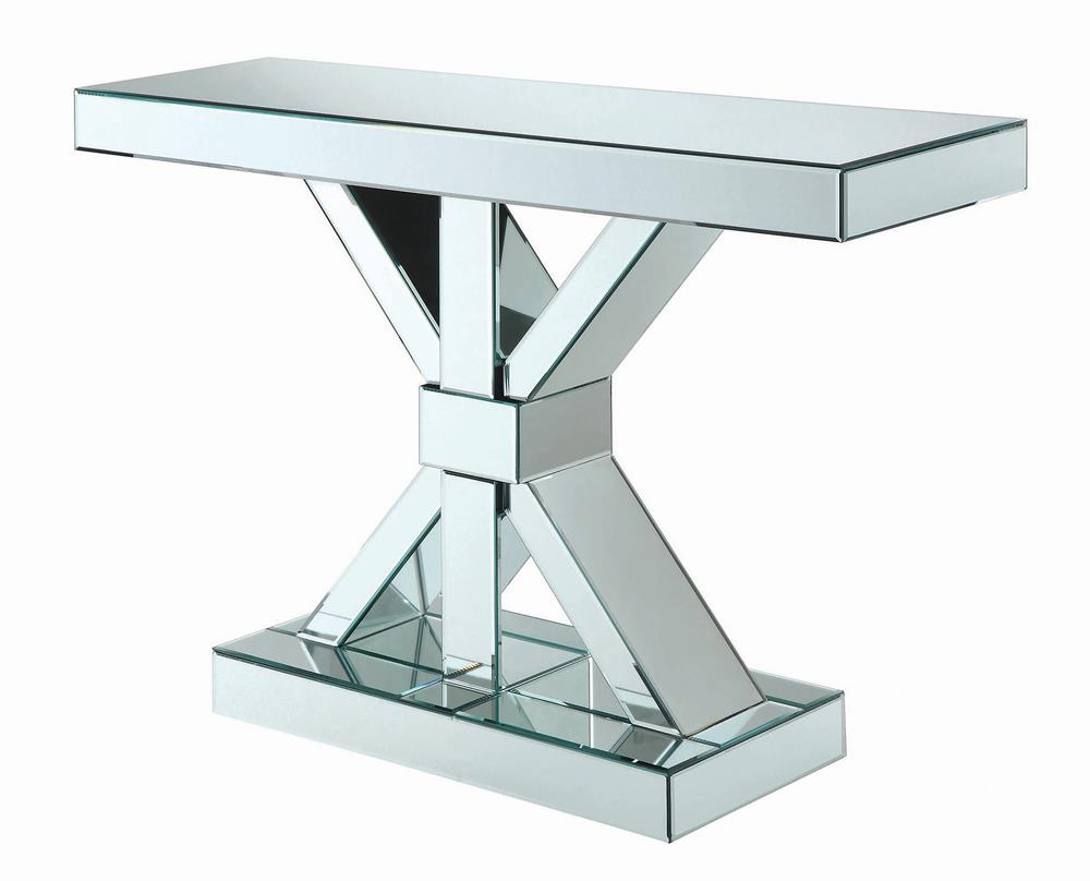 G950191 - Reventlow X-Shaped Base Console Table - Clear Mirror