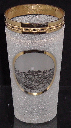 999074 Crystal Pebble Glass With Painting Of Town Joachinsthal. U. M. In Circle, Straight Sides, Gold Rim With Decoration In Rim, Bohemian Glassware, Antique, - ReeceFurniture.com - Free Local Pick Ups: Frankenmuth, MI, Indianapolis, IN, Chicago Ridge, IL, and Detroit, MI