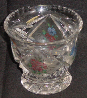 999196 Small Glass With 4 Diamond Cut Satined Panels Of Painted Flowers, Bohemian Glassware, Antique, - ReeceFurniture.com - Free Local Pick Ups: Frankenmuth, MI, Indianapolis, IN, Chicago Ridge, IL, and Detroit, MI