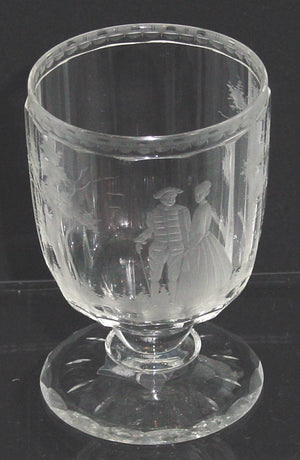 999243 Crystal W/On Stem W/14 Cut Flat Sides & Engraved Man & Woman, Bohemian Glassware, Antique, - ReeceFurniture.com - Free Local Pick Ups: Frankenmuth, MI, Indianapolis, IN, Chicago Ridge, IL, and Detroit, MI