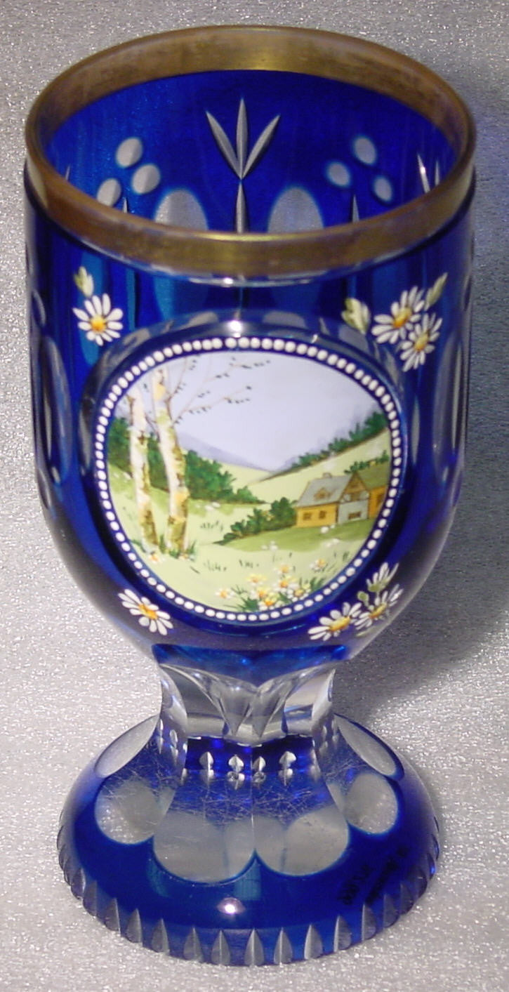 999276 Blue Cased Glass With Cutting Around & Painted Farmhouse & Hills In Cut Circle, Cutting Around Bottom, And On Base, Gold Rim, Bohemian Glassware, Antique, - ReeceFurniture.com - Free Local Pick Ups: Frankenmuth, MI, Indianapolis, IN, Chicago Ridge, IL, and Detroit, MI