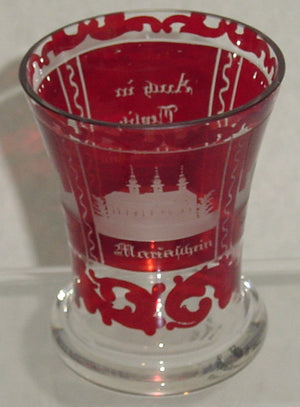 999291 Ruby Flashed Bohemian Glass Friendship Cup with 3 Engraved buildings, Bohemian Glassware, Antique, - ReeceFurniture.com - Free Local Pick Ups: Frankenmuth, MI, Indianapolis, IN, Chicago Ridge, IL, and Detroit, MI