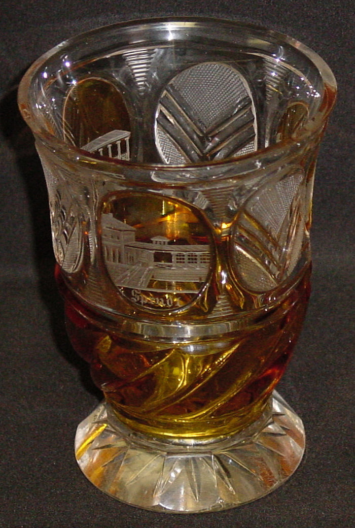 999325 Amber Flashed Glass W/Engraved Muhlbrunn, Sprudl, Mayer's Gloriette