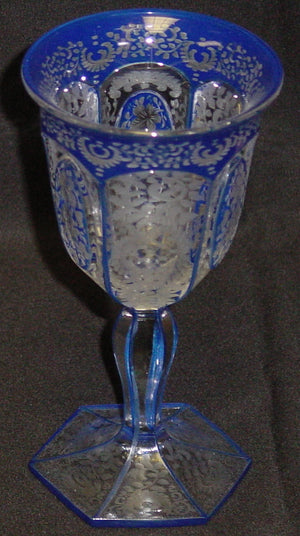999329 Blue Cased Goblet W/6 Cut Flat Sides 3 W/Oval Panels & Heavy, Bohemian Glassware, Antique, - ReeceFurniture.com - Free Local Pick Ups: Frankenmuth, MI, Indianapolis, IN, Chicago Ridge, IL, and Detroit, MI