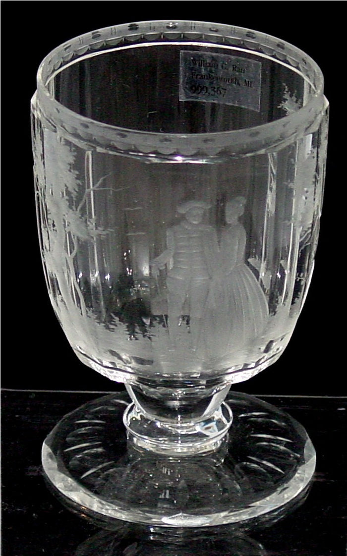 999367 Short Goblet W/14 Flat Cut Sides, Engraved Man & Woman,Trees