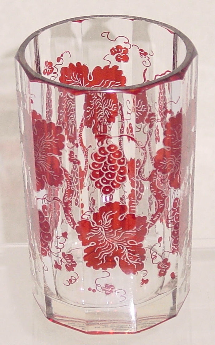 999643 Ruby Flashed Over Crystal Glass With Ruby Colored Grapes & Leaves Around