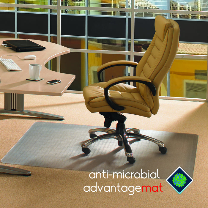"Anti-Microbial Advantagemat Rectangular Chair mat for Standard Pile Carpets 3/8"" or less"