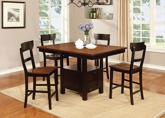 CDC393 Black And Cherry Pub Table With 4 Pub Chairs, Pub Dining, American Imports, - ReeceFurniture.com - Free Local Pick Ups: Frankenmuth, MI, Indianapolis, IN, Chicago Ridge, IL, and Detroit, MI
