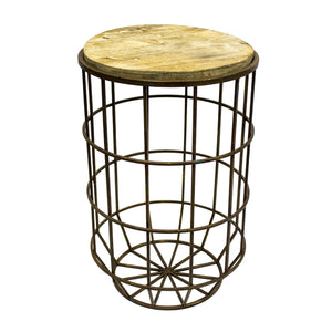 Round Metal/Wood Accent Table Ds