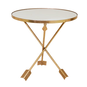 Gold Arrow Accent Table, Mirror Top