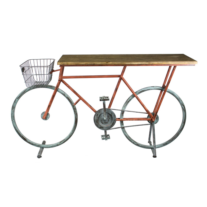 Bicycle Console Table, Red/Blue