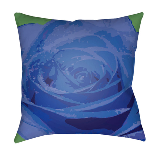 Abstract Floral Pillow Cover - Bright Blue, Dark Blue, Violet - AF001