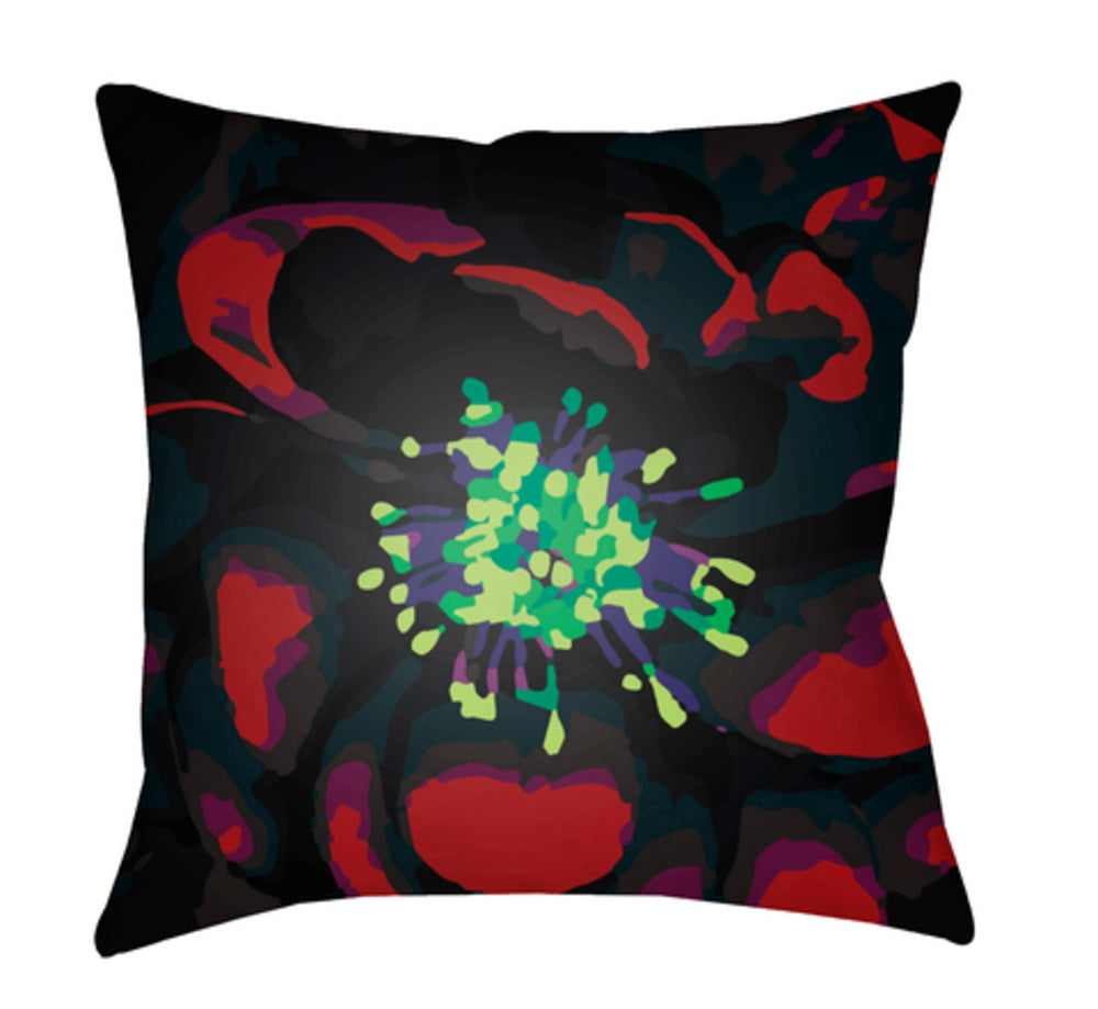 Abstract Floral Pillow Cover - Lime, Dark Red, Black, Dark Purple, Grass Green - AF009