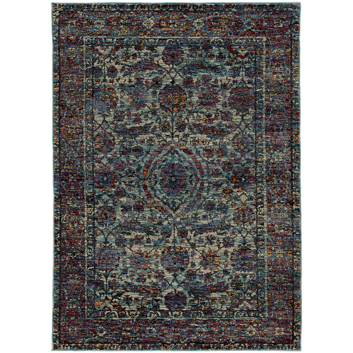 6846B Andorra Indoor Area Rug Blue/ Purple