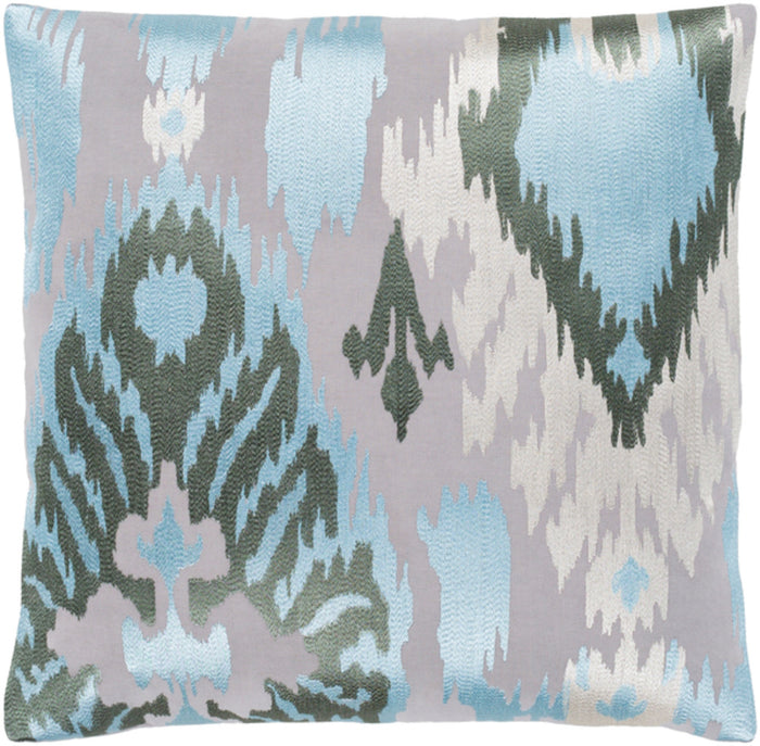 Ara Pillow Cover - Light Gray, Pale Blue, Dark Green, White - AR143