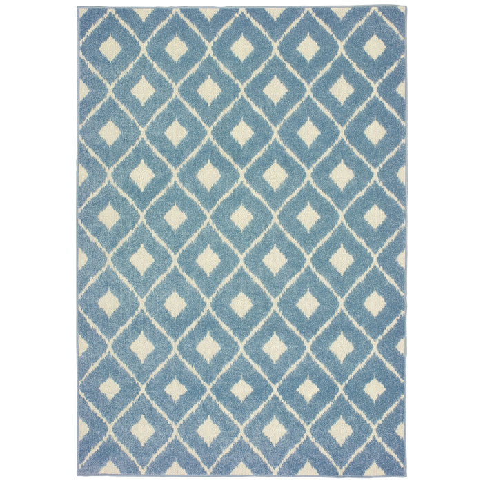 5502B Barbados Indoor/Outdoor Rug Blue/ Ivory