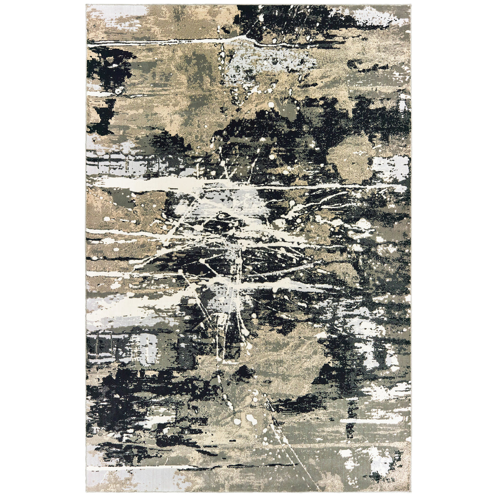 109E2 Bowen Indoor Area Rug Black/ Gold