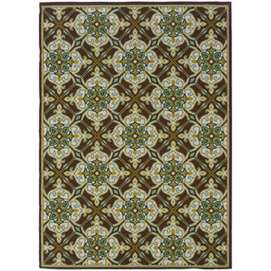 1005D Caspian Indoor/Outdoor Rug Brown/Ivory