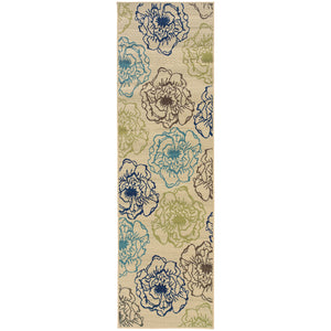 3065Y Caspian Indoor/Outdoor Rug Ivory/Blue