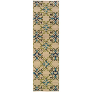 3331W Caspian Indoor/Outdoor Rug Ivory/Blue